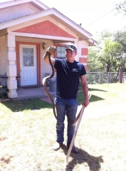 saving a friend from a scary but harless snake