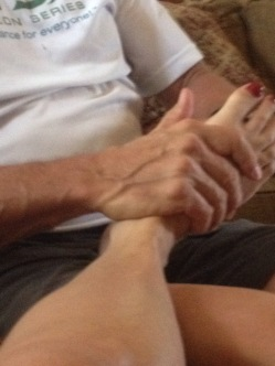 After the ride foot rub. My husband spoils me.
