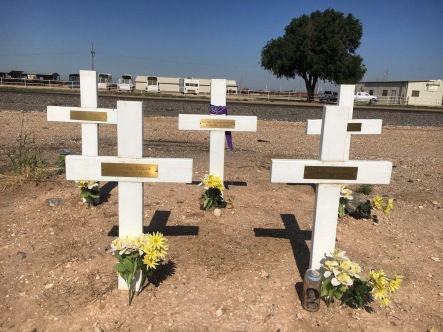 The crosses are in the order where they were sitting. Three in front, two in back died. Andrew is front right. Passenger side. The survivor was sitting behind him.